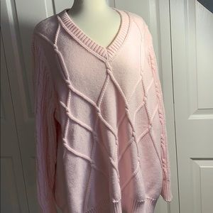 Lane Bryant 26/28 pink cable knit sweater